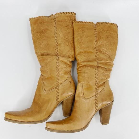 Bronx Tooled leather brown boots